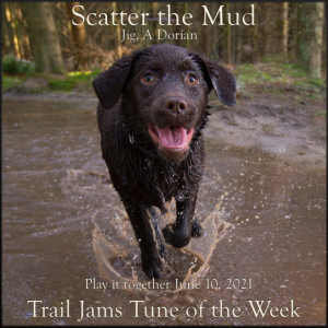TrailJams Tune of the Week: Scatter the Mud. Jig, A Dorian. Play it together June 10, 2021.