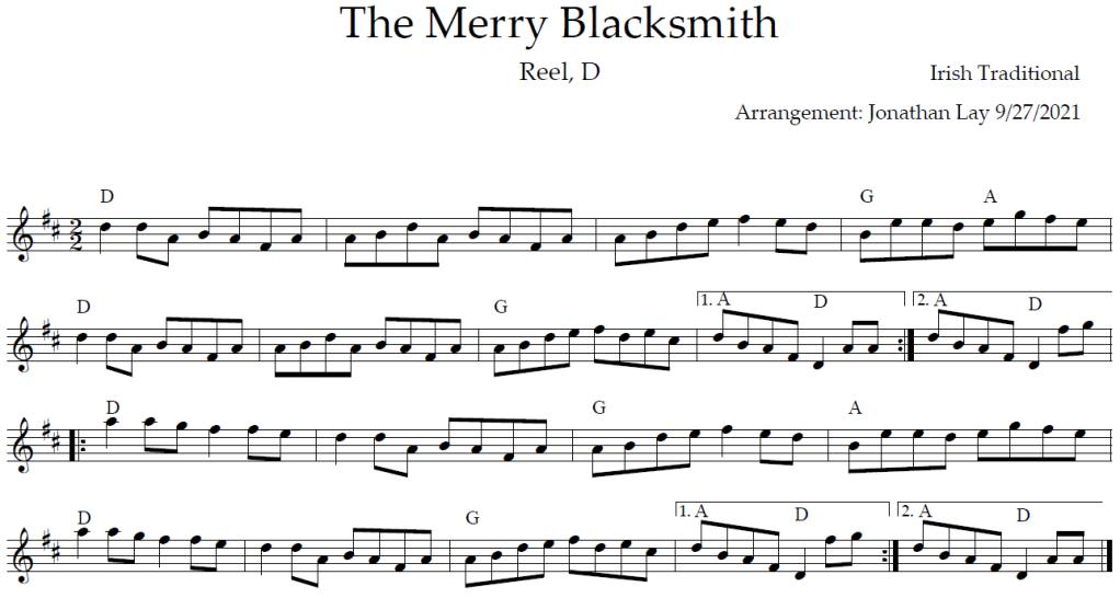 Musical score for The Merry Blacksmith, Reel, D