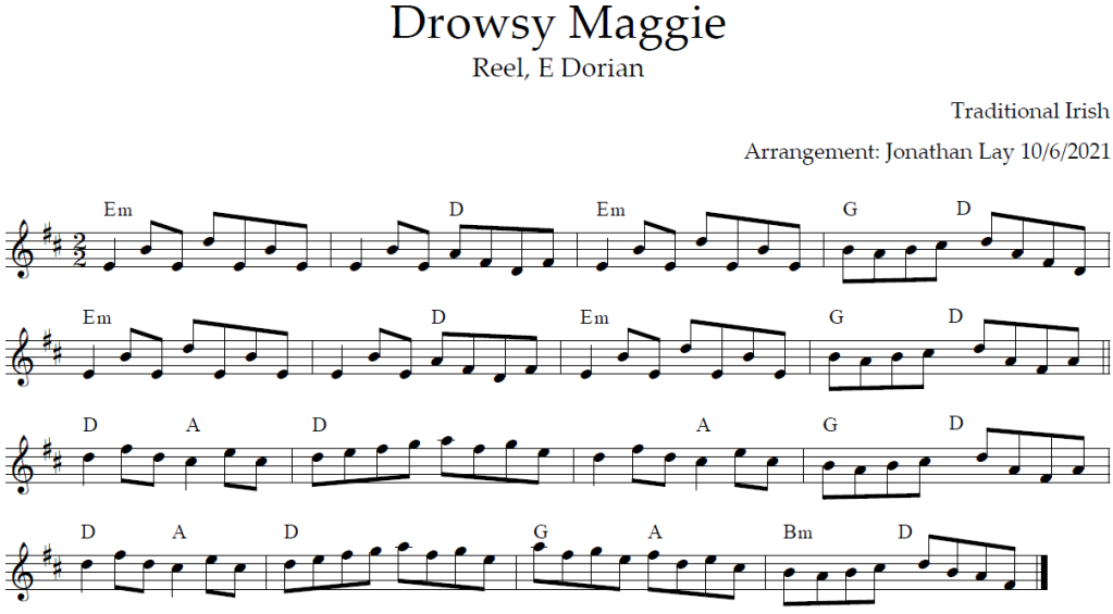 Musical score (sheet music) for Drowsy Maggie.
