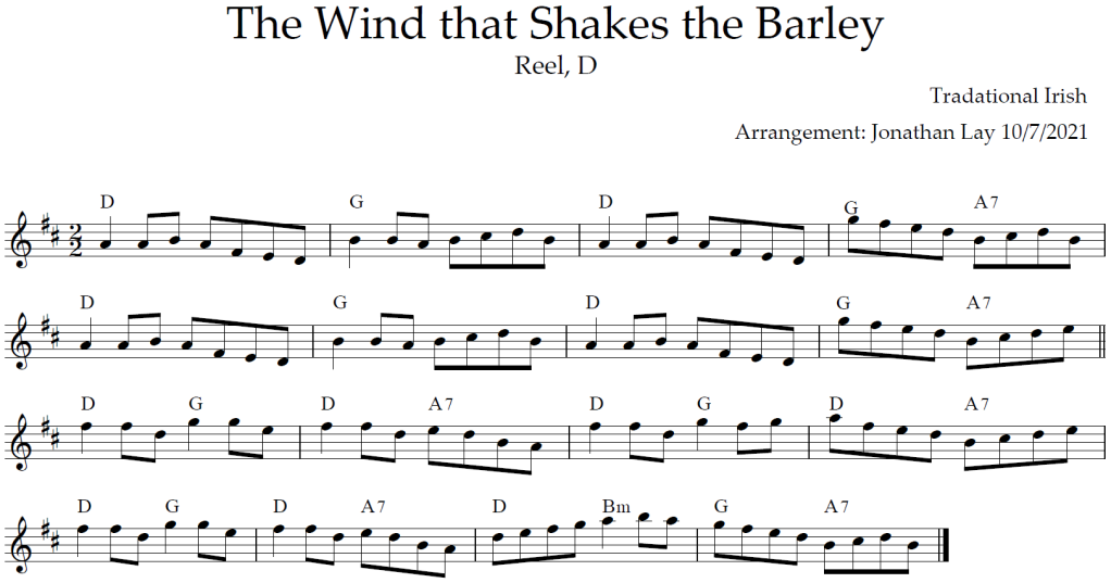 Musical score (sheet music) for The Wind that Shakes the Barley.